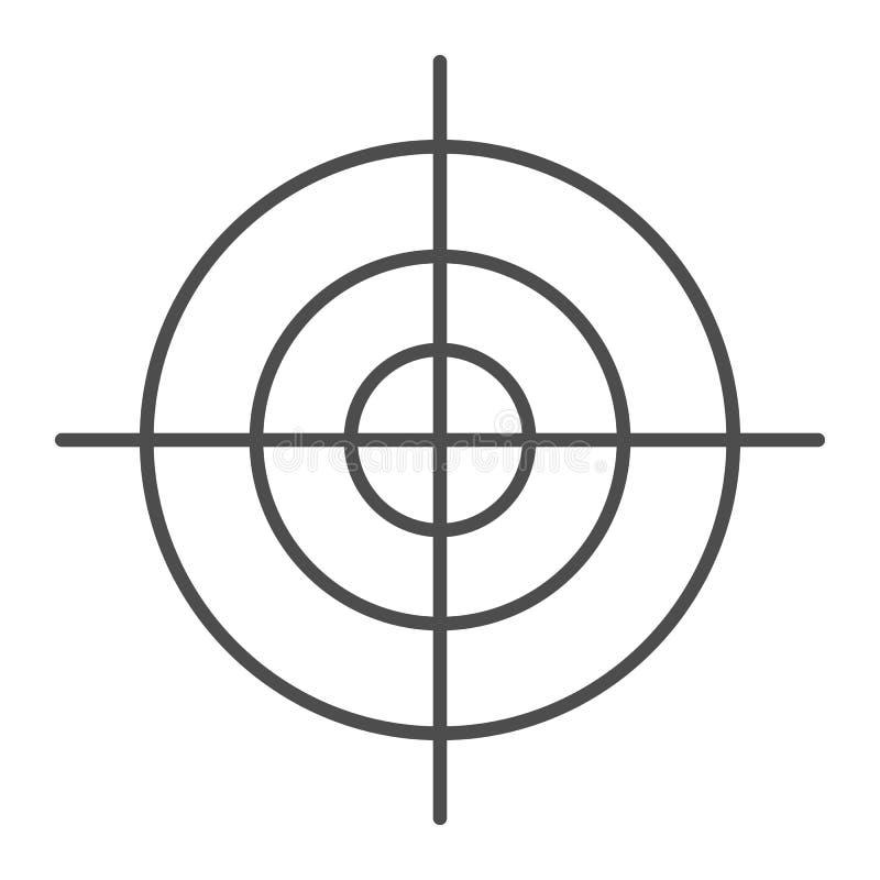 Cel cienka kreskowa ikona Cel wektorowa ilustracja odizolowywająca na bielu Celu konturu stylu projekt, projektujący dla sieci i  ilustracji
