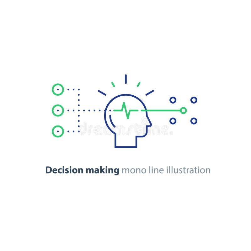 Cel grupa, podejmowanie decyzji, tendencyjności pojęcie, wybiera opcje, kreatywnie główkowanie ilustracji