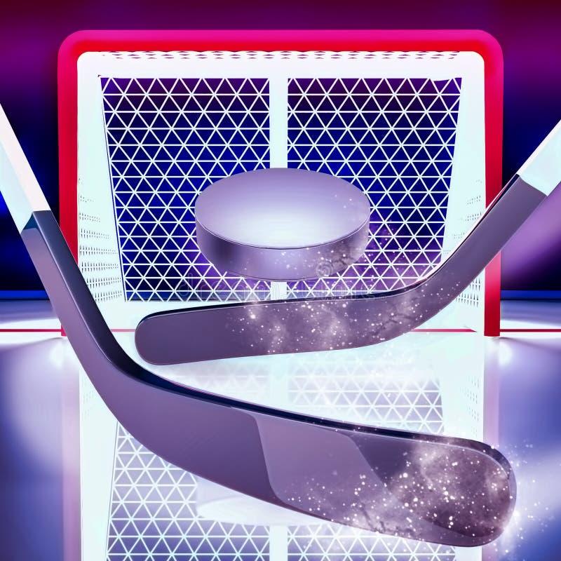 Cel! Hokejowi kije i krążek hokojowy lokalizują przeciw tłu hokejowa brama ilustracja wektor