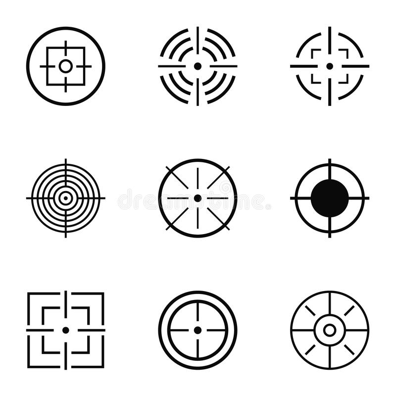 Cel ikony ustawiać, prosty styl royalty ilustracja