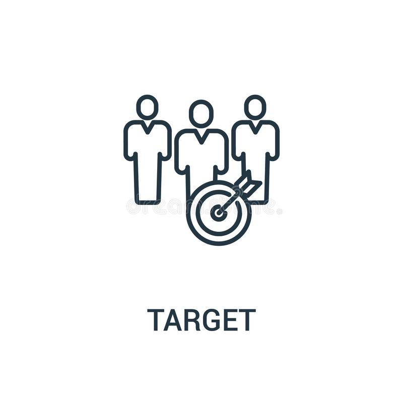 cel ikony wektor od reklam inkasowych Cienka kreskowa celu konturu ikony wektoru ilustracja Liniowy symbol dla używa na sieci i w royalty ilustracja