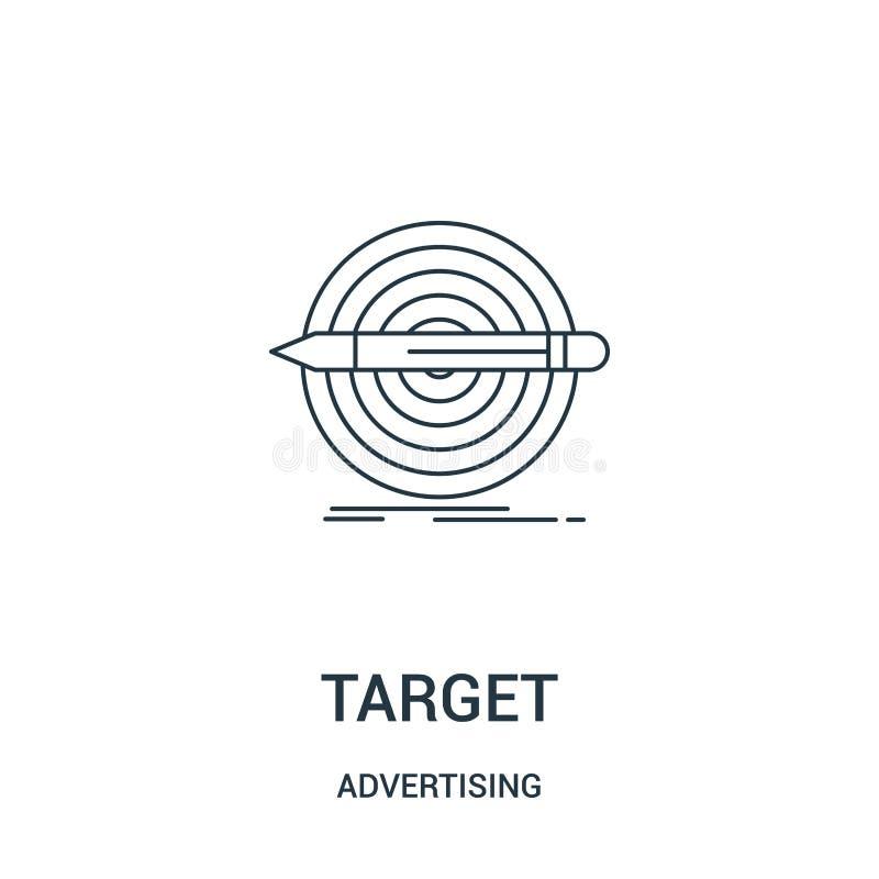 cel ikony wektor od reklamowej kolekcji Cienka kreskowa celu konturu ikony wektoru ilustracja Liniowy symbol dla używa na sieci ilustracja wektor