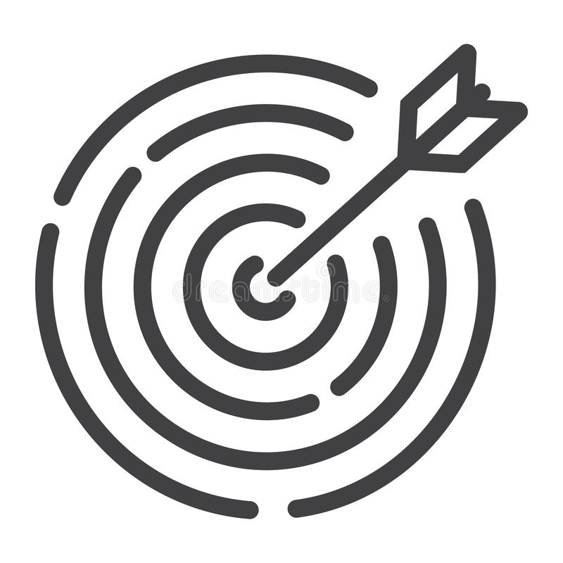 Cel linii ikona, biznes i dartboard, ilustracja wektor