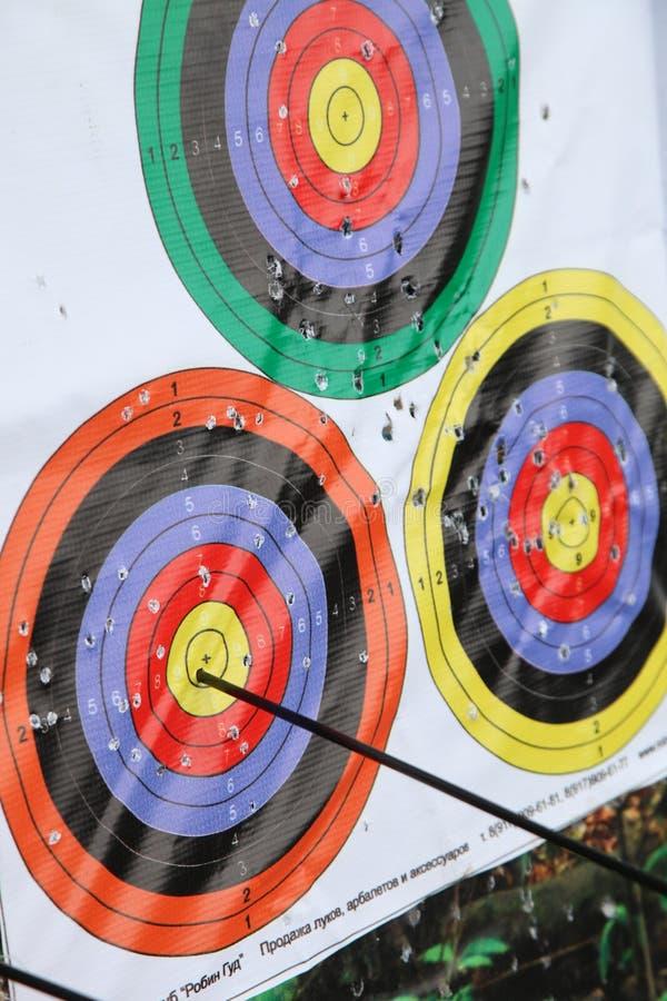 cel, strzała, rywalizacja, broń, łucznictwo, łęku rudzika kapiszon fotografia stock