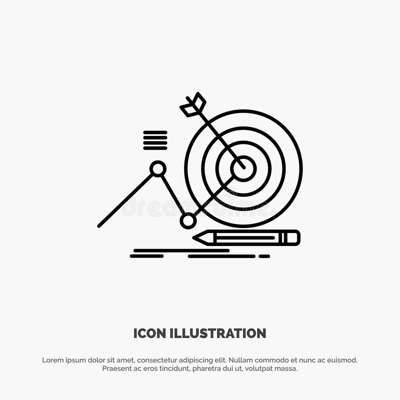 Cel, sukces, cel, ostrości ikony Kreskowy wektor ilustracji