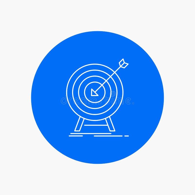 cel, uderzenie, rynek, sukces, celuje Białej linii ikonę w okręgu tle Wektorowa ikony ilustracja ilustracji