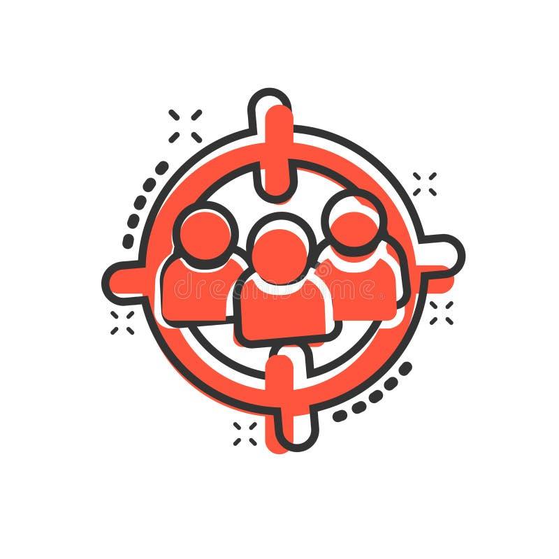Cel widowni ikona w komiczka stylu Ostrość na ludziach wektorowego kreskówki ilustracji piktograma Działu zasobów ludzkich biznes ilustracji