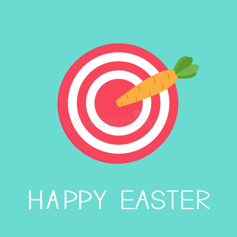 Cel z marchwianą strzała Szczęśliwy Easter karty projekta Płaski tło ilustracja wektor