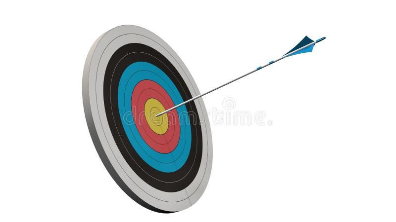 Cel z strzała - cel z łęku arros po środku celu odizolowywającego zdjęcie royalty free