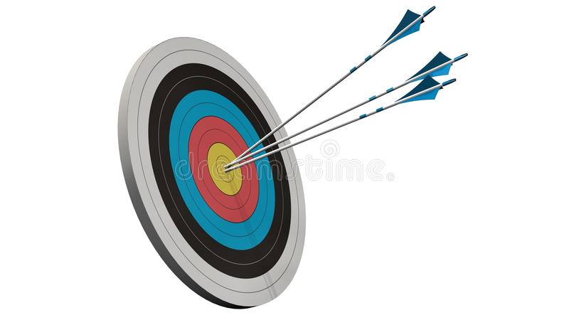 Cel z strzała - cel z trzy łęk strzała po środku celu odizolowywającego na bielu fotografia royalty free