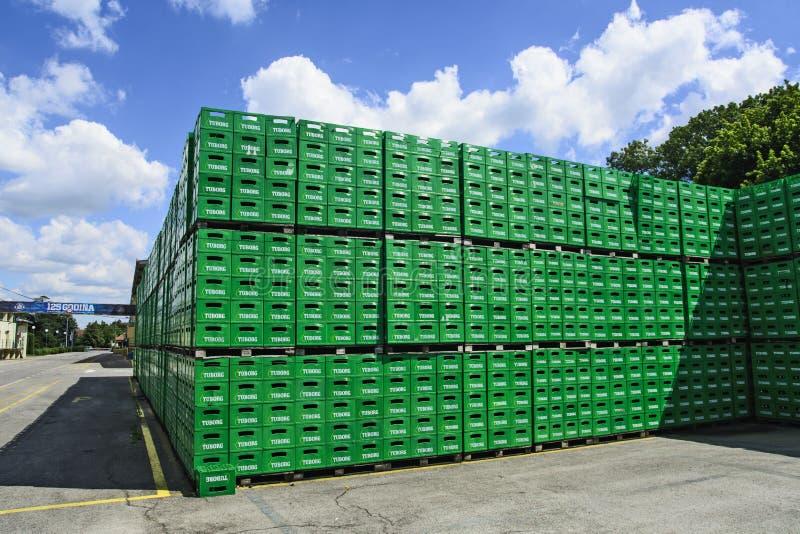 Brewery warehouse of plastic packaging. Celarevo, Serbia, June, 11,2017. `Carlcberg Pilsner` brewery in serbia and a large warehouse of empty packaging in the royalty free stock image