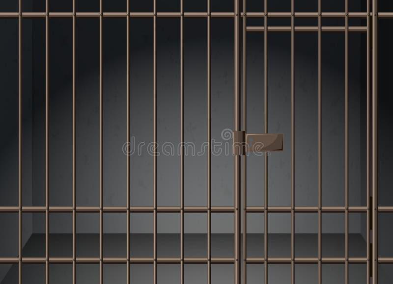 Celda de prisión con las barras de metal ilustración del vector