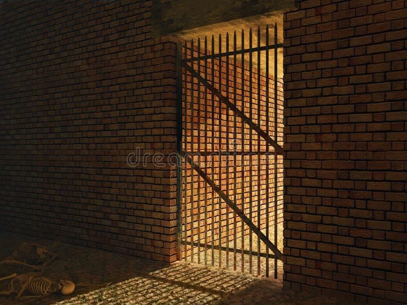 Celda de prisión medieval stock de ilustración