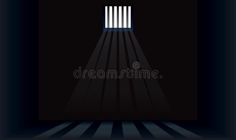 Celda de prisión oscura con las barras ilustración del vector