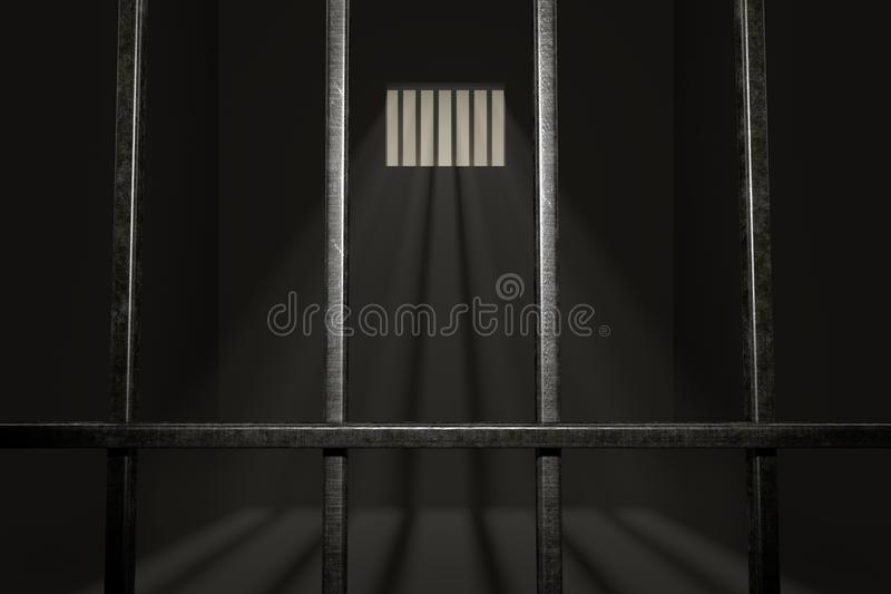 Celda de prisión vacía Rayos ligeros que brillan a través de ventana en cárcel 3D rindió la ilustración stock de ilustración