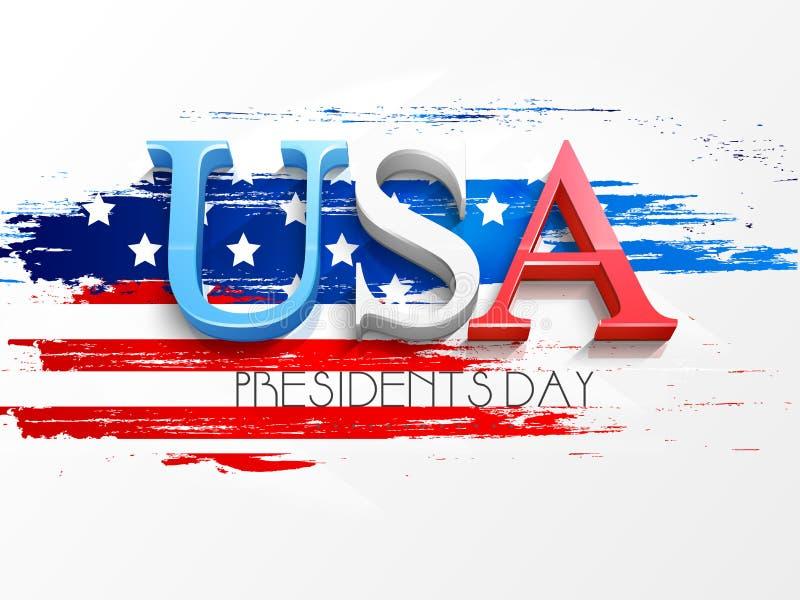 Celebração americana dos presidentes Dia com texto 3D ilustração stock