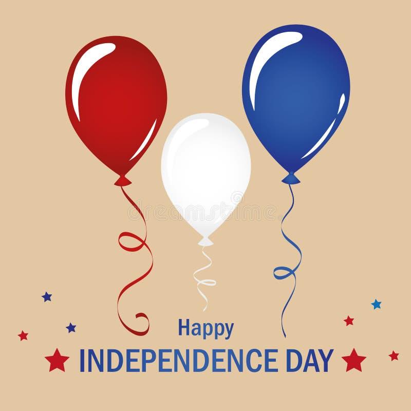 Celebração branca e azul vermelha do balão ajustada para o Dia da Independência EUA ilustração royalty free