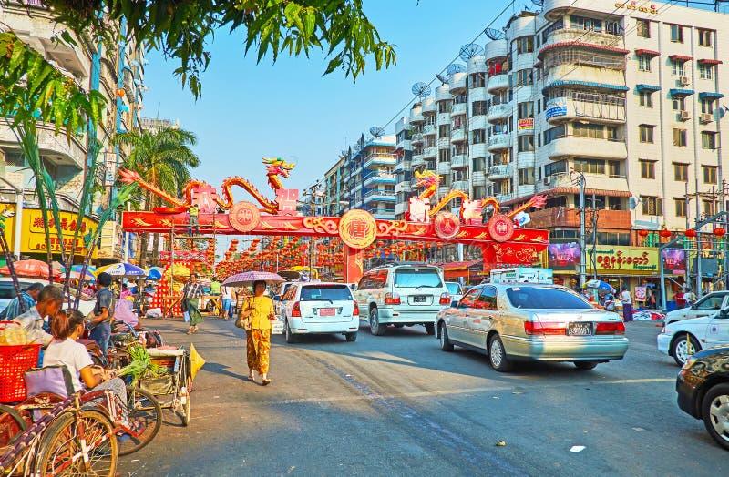 Celebração chinesa do ano novo em Yangon, Myanmar imagem de stock royalty free