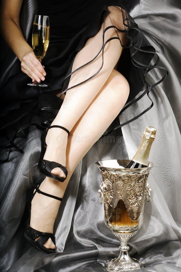 Celebração com champanhe fotos de stock royalty free