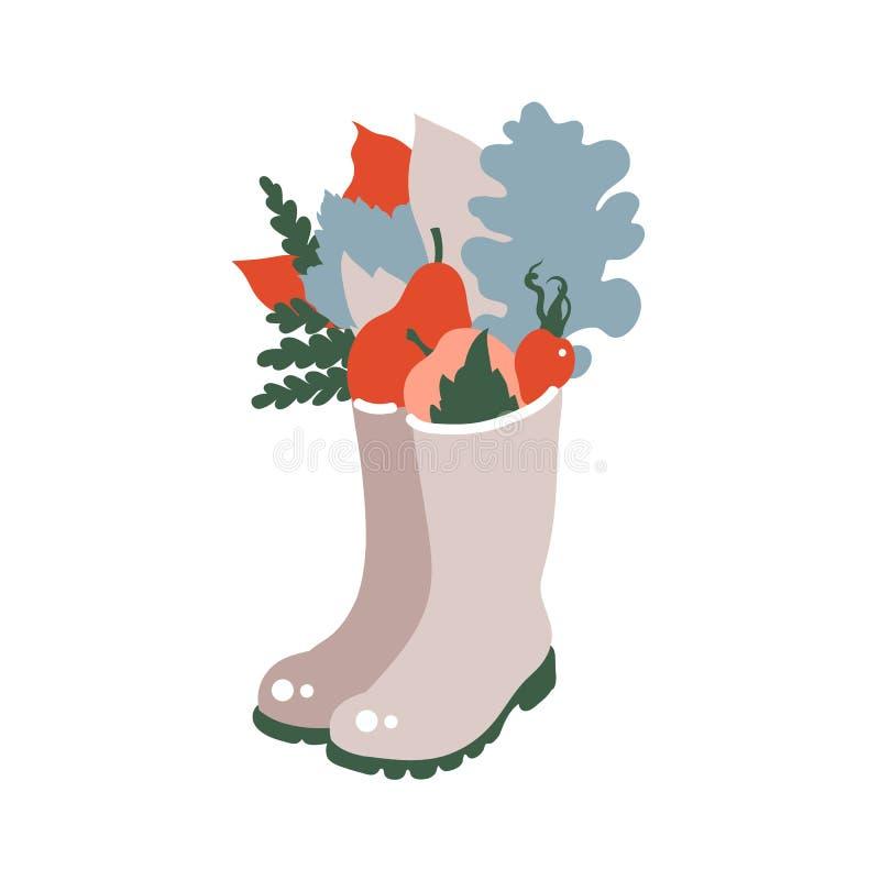 Celebração da colheita Cópia no estilo escandinavo Folhas de outono, bagas, maçãs, peras nas botas de borracha ilustração royalty free