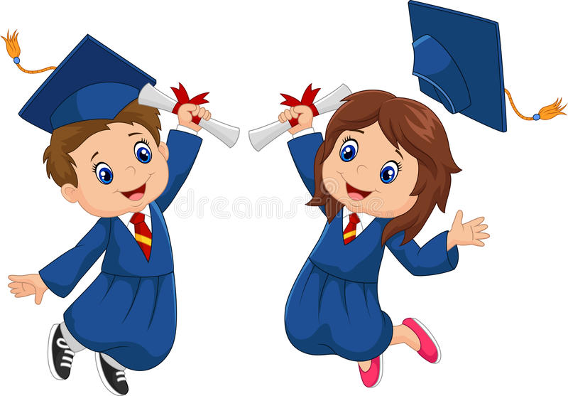 Celebração da graduação dos desenhos animados ilustração stock
