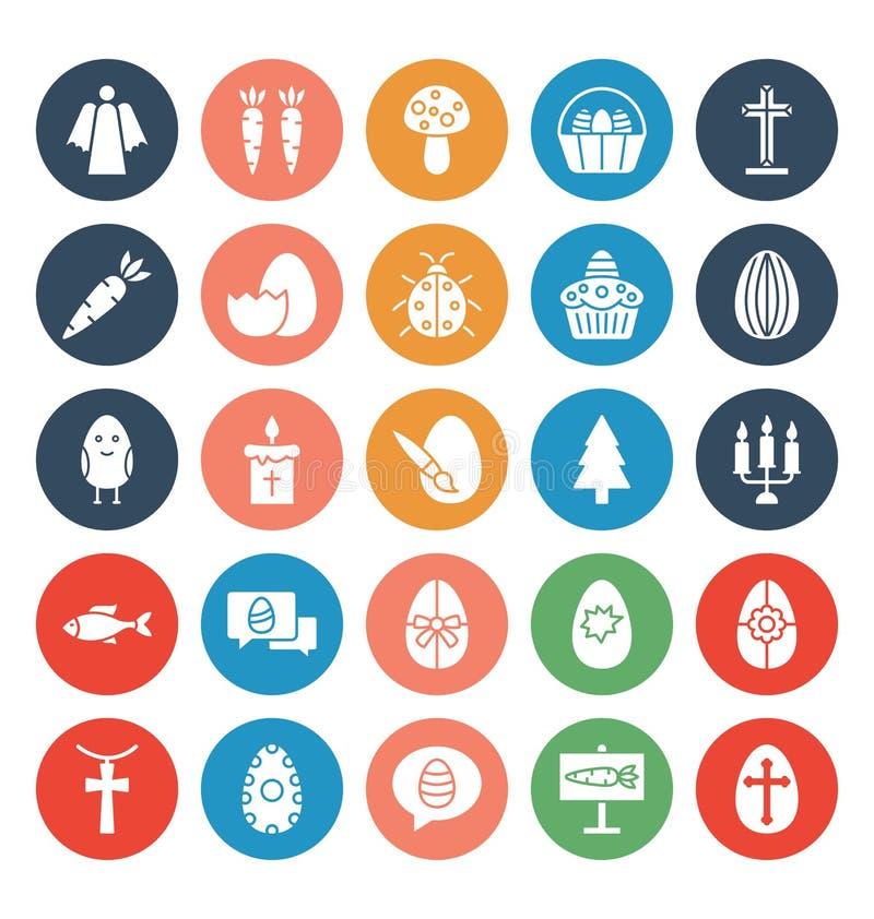 A celebração da Páscoa isolou o grupo dos ícones do vetor que pode facilmente ser alterado ou editado ilustração do vetor