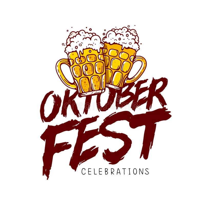 Celebração de Oktoberfest Caligrafia da tendência ilustração do vetor