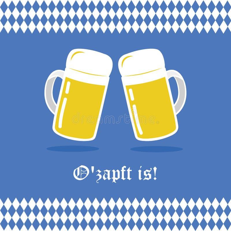 A celebração de Oktoberfest com cerveja e o bavaria embandeiram o fundo ilustração royalty free