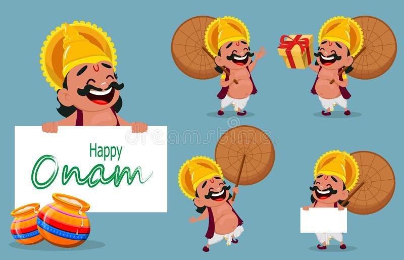 Celebração de Onam Rei Mahabali que guarda o guarda-chuva, grupo de cinco poses ilustração royalty free