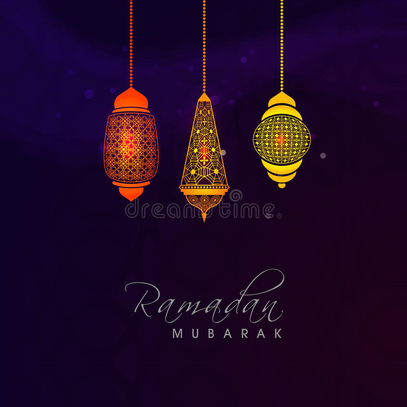 Celebração de Ramadan Kareem com as lâmpadas árabes coloridas ilustração do vetor