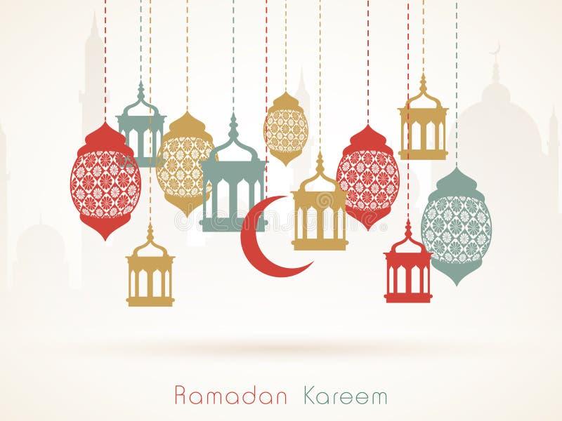 Celebração de Ramadan Kareem com suspensão de lanternas árabes ilustração stock