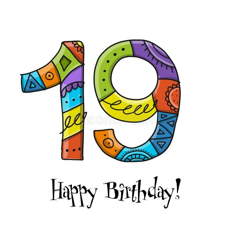 19a celebração do aniversário Molde do cart?o ilustração stock