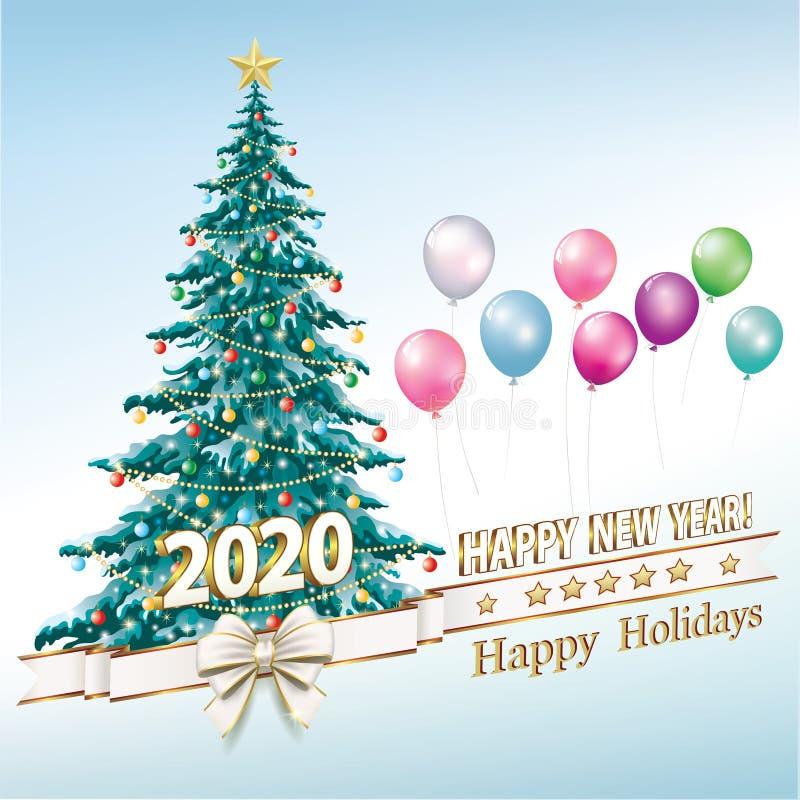 Celebração do Ano Novo 2020 Feliz Feriado Cartão de saudação com árvore de Natal ilustração do vetor