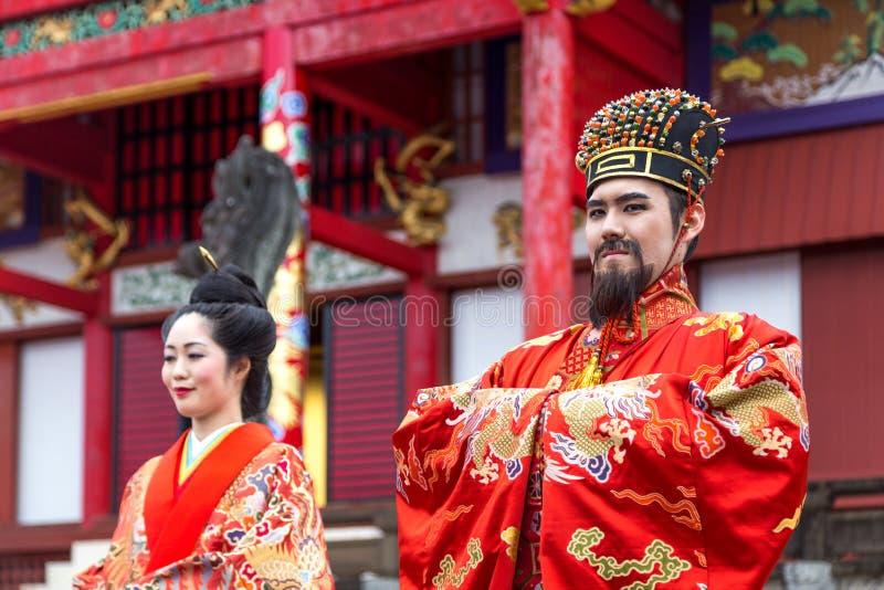 Celebração do ano novo no castelo de Shuri em Okinawa, Japão fotografia de stock