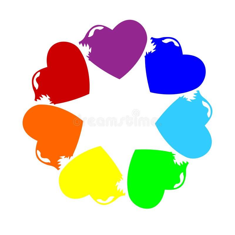 Celebração do arco-íris Dança conduzida Fome Toothy valentine Vetor Amor e felicidade ilustração do vetor