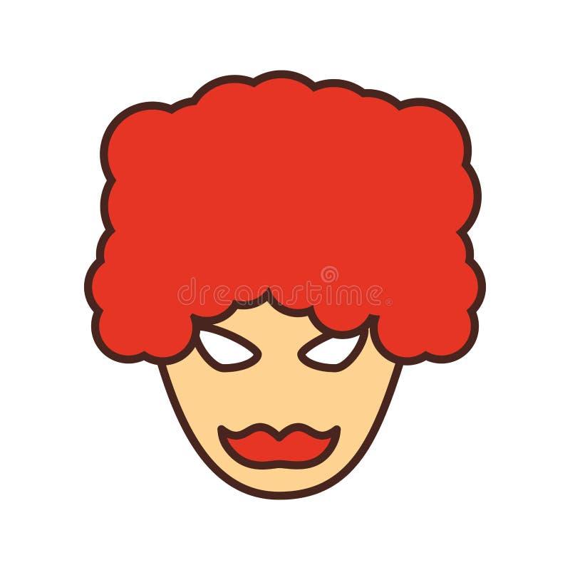 Celebração do carnaval da máscara com cabelo afro ilustração stock