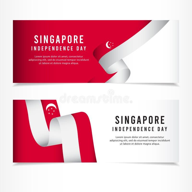 Celebração do Dia da Independência de Singapura, ilustração do molde do vetor da cenografia da bandeira ilustração do vetor