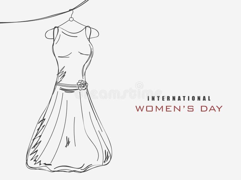Celebração do dia das mulheres internacionais com um vestido ilustração do vetor