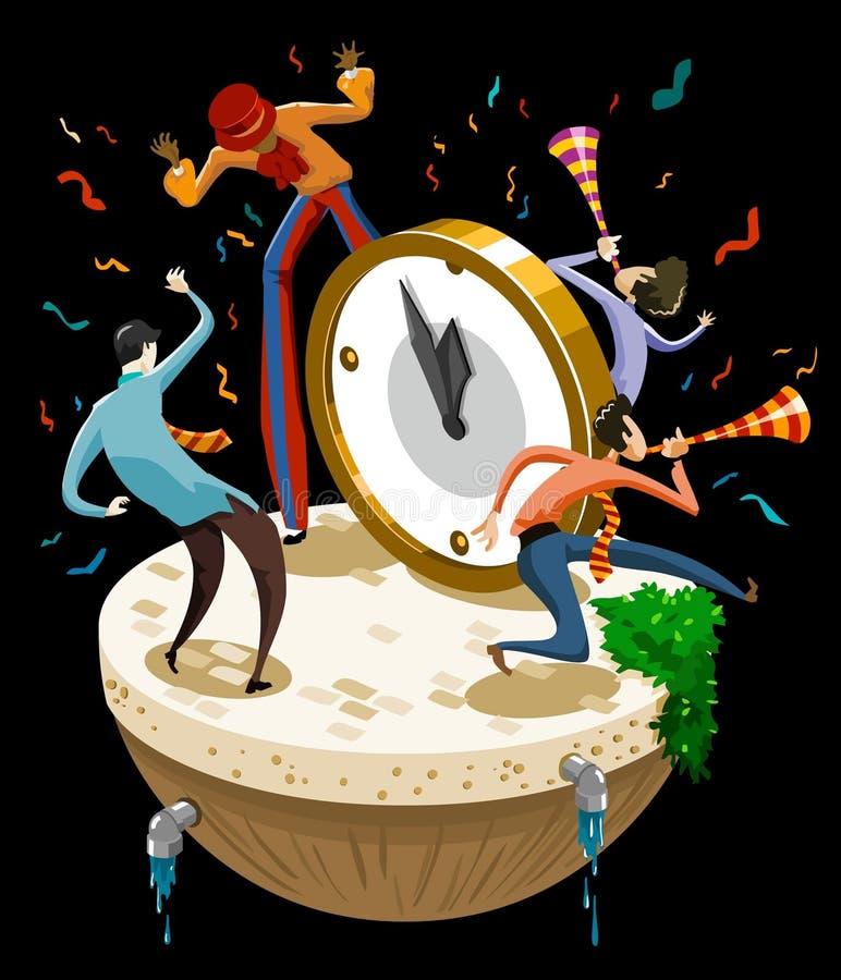 Celebração do dia de ano novo ilustração do vetor