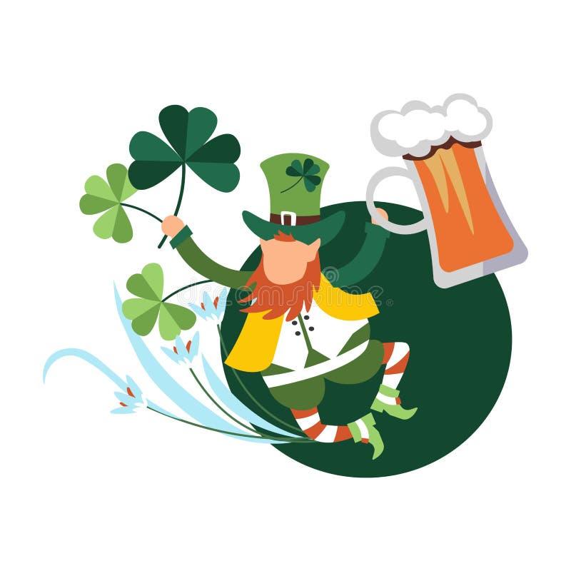 Celebração do dia de St Patrick, gnomo irlandês do duende da dança do gabarito que guarda o jarro e os trevos da cerveja ilustração royalty free