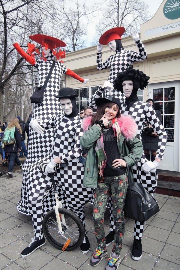 Celebração do dia do ` s de St Patrick em Moscou imagens de stock royalty free