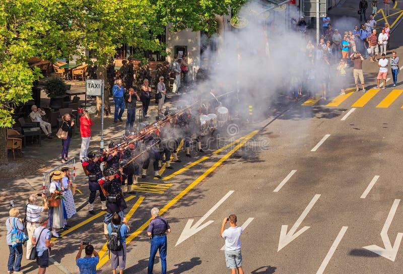 Celebração do dia nacional suíço em Zurique, Suíça imagem de stock