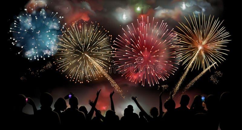 A celebração do feriado com fogos-de-artifício mostra na noite, silhueta dos povos olhando fogos-de-artifício festivos, fundo do  ilustração do vetor