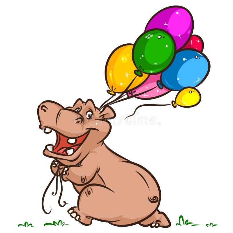 A celebração do hipopótamo balloons desenhos animados ilustração royalty free