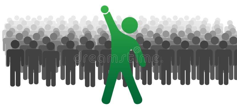 A celebração do líder levanta o braço para os povos 2 da equipe