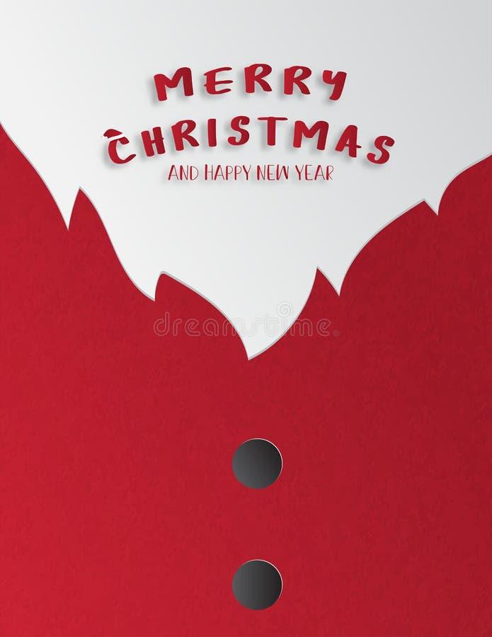Celebração do Natal e de cumprimento ou de convite do ano novo feliz cartão no estilo cortado de papel Fim acima do terno de Sant ilustração stock