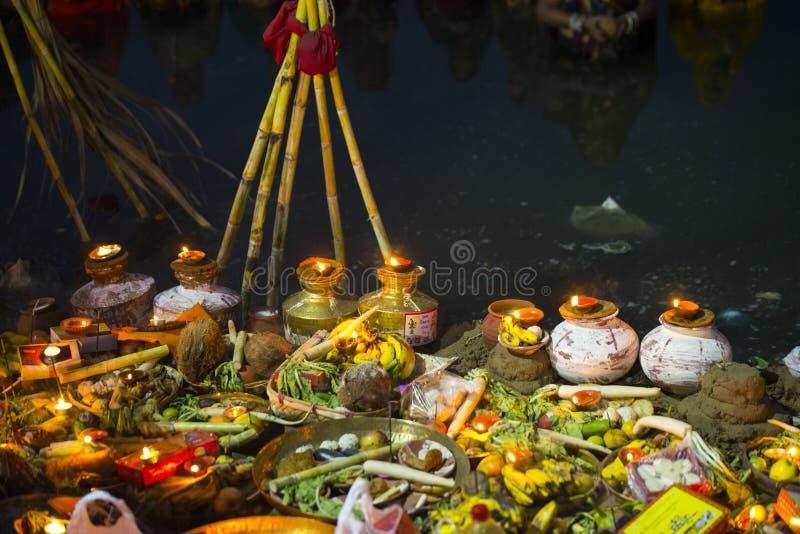 Celebração do puja de Chhat imagem de stock