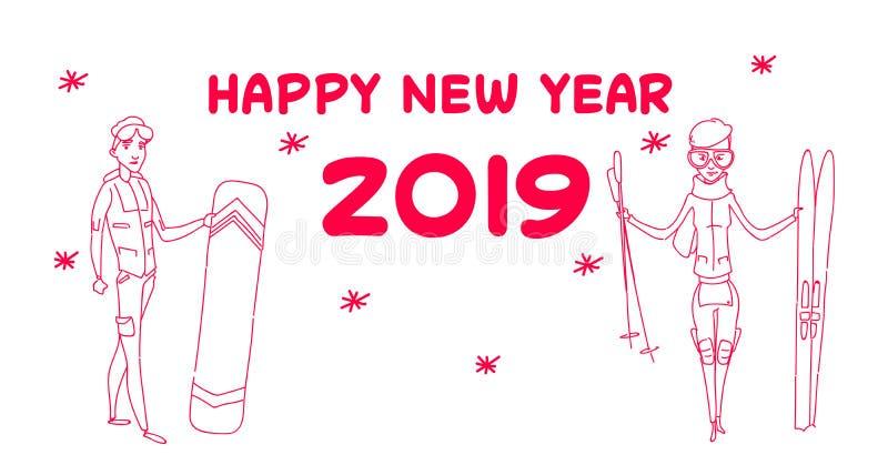 Celebração estando das férias do feriado do conceito do ano novo feliz da atividade do inverno do snowboard do esqui da posse dos ilustração royalty free