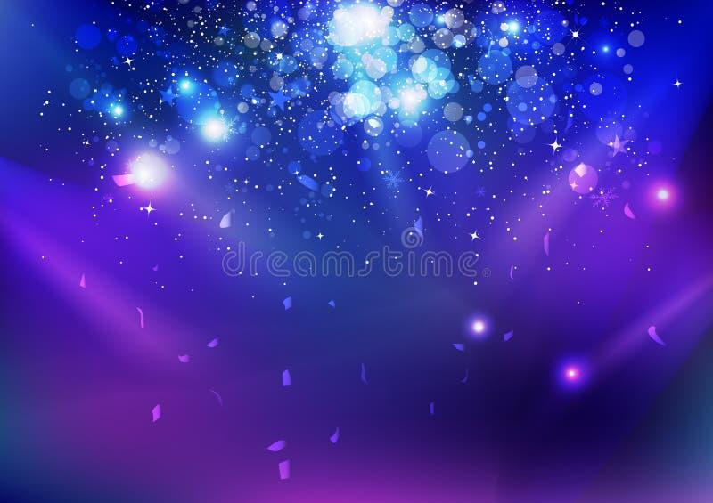 Celebração, evento, poeira de estrelas e confetes caindo, luz de incandescência da explosão azul da noite no fundo do sumário do  ilustração royalty free