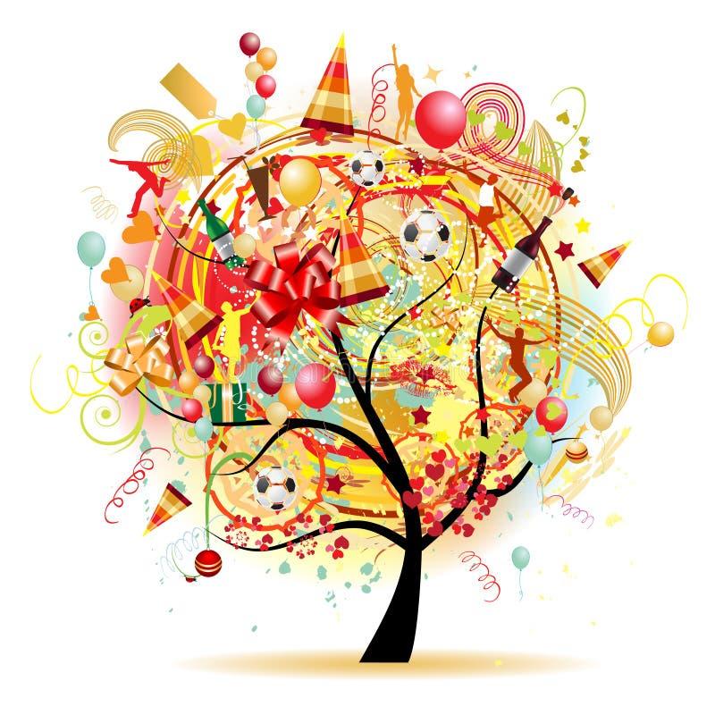 Celebração feliz, árvore engraçada com símbolos do feriado ilustração stock